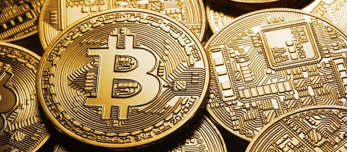 Background on a business theme from virtual bitcoin currency. The concept of virtual business and crypto-currencies.